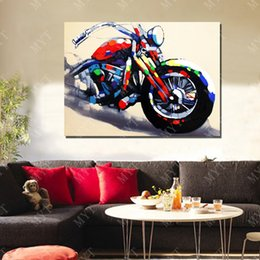 Wholesale Hand Made Abstract Motorcycle Oil Painting On Canvas Modern Canvas Wall Art Living Room Decor Picture