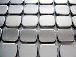 Wholesale Small size hinge tin box square tin silver gift box sealing plain tin wedding candy boxes