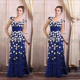 Navy Blue Side Split 3D Flowers 2016 Prom Dresses Sheath Appliques Beaded Floor Length Sleeveless Back Zipper in Satin Evening Gowns
