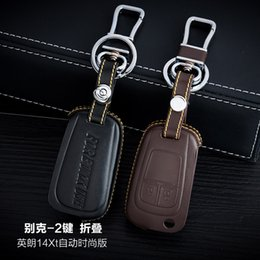 100% Genuine Leather Car Key Case Cover 2 Buttons Folding For 2014 2015 Buick Excelle XT Verano LaCrosse Car Key Accessories