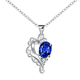 Brand new fashion heart shape 925 silver Pendant Necklaces STPN063A, best gift blue gemstone sterling silver jewelry necklace