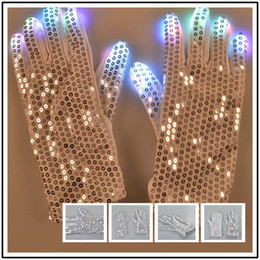 Wholesale LED Glow Gloves New Halloween Christmas Colored Party Cool Dance Equipment Skeleton Riding Gloves Finger Flash Gifts XL T81