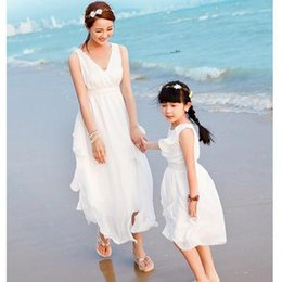Wholesale Authentic Summer Style Mother Daughter Dresses Girl Dress Vestidos Long Maxi Dress for Girls Women Flower Family Clothing