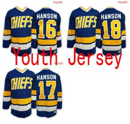 Wholesale 2016 Mix Order Steve HANSON Youth Charlestown CHIEFS Jerseys Jack HANSON ICE Hockey Jersey Kid boy Jeff HANSON Jersey
