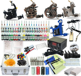 Wholesale Complete Tattoo Kit machine Gun Power Supply TK Color Inks black case