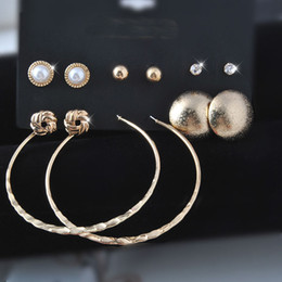 Wholesale Large Loop Earrings - NEW mixed style earrings golden Earrings Sets 6 pairs of earrings stud earrings large circle earrings Big Hoop Loop Earrings free shipping