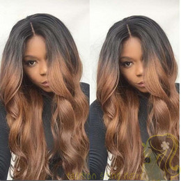 Peruvian #1B 30 Two Tone Glueless Full Lace Human Hair Wigs Super Wavy Ombre Lace Front Wigs Bleached Knots 150% Full Density