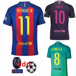 Wholesale 2017 Champions League Soccer Jersey Messi Soccer Jersey Home Away rd Football Shirts Neymar Suarez Thai Quality Jeresys