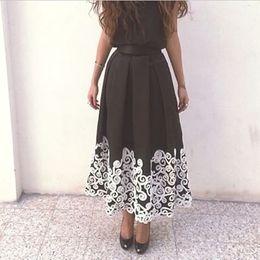 Elegant Black Evening Dresses with White Lace Applique A Line Crew Neck Tea Length Prom Gowns