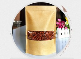 100pcs Moisture-proof Bags,Kraft Paper with visual clear window Stand UP Pouch, Ziplock Packaging Bag for Snack Candy Cookie free shipping