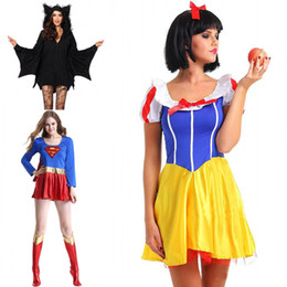 Wholesale New Halloween Costume Superhero Cosplay Sexy Fancy Dress Snow White Cosplay Black Batman Anime Costumes Gown Clothes for Grils