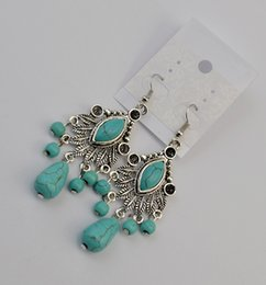 Bohemian Hollow Out Turquoise Stone Beaded Vintage Silver Fashion Drop Dangle Earrings Jewelry Gift Lots 12 Pairs