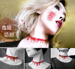Wholesale 2016 New Choker Necklace Halloween Horror Blood Drip Necklace Fancy Dress Fun Joke Choker Red Novelty Accessories For Women XMAS gift