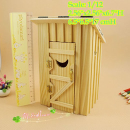 Wholesale 1 Dollhouse Miniature Wood Outhouse Single Double Doll house Furniture