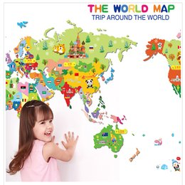 Wholesale Removable Waterproof Wall Stickers Cartoon Bedroom Living Room Toilet Office Cartoon Cartoon map of the world Stickers Home Decor