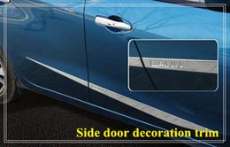 High quality stainless steel 4pcs side door decoration bight trim, door streamer,door scuff plate with logo for Nissan Lannia bluebird 2016