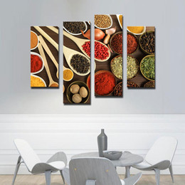 4 Picture Combination WALL ART Bowls with Different Spices Paintings Picture Printed On Canvas The Picture For Living room Kitchen Decor