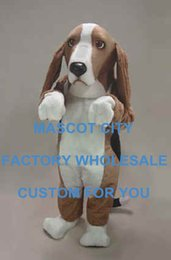 Wholesale Coffee Basset Hound Mascot Costume Adult Size Friendly Basse Hound Dog Mascotte Mascota Outfit Suit for Party Carnival SW702