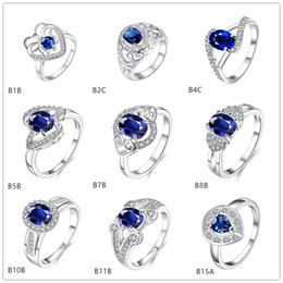 Twisted round blue gemstone 925 silver ring GTGR8 , best gift sterling silver ring 10 pieces mixed style
