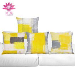 muchun Brand Yellow Graffiti Christmas Cotton&Linen Sofa Throw Pillow Cover 45*45 cm Halloween Extra-Thick Decorative Pillow Case