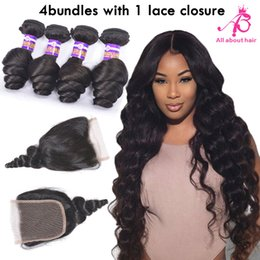 Wholesale Indian loose wave curly weave Brazilian mink human hair lace closures bundles A grade Peruvian Indian loose wave closure hair