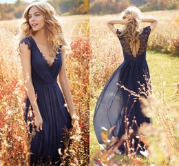 Fashion Navy Blue Bridesmaid Dresses 2016 Cheap With Short Sleeves Hollow Backless Lace Wedding Party Prom Formal Dress Gowns Custom Cheap
