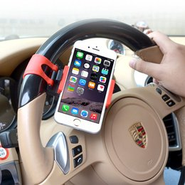 Promotion volant pour les vélos Directeur gros-Car Wheel Holder Mount For iPhone 6s moto vélo Holder Rubber Band Pour Support de téléphone iPod MP4 GPS mobile