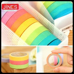 10pcs pack Office Candy Color Tape Set Masking Tape Scrapbook Decorative Paper Adhesive Sticker DIY Office School Supplies Papelaria 2016