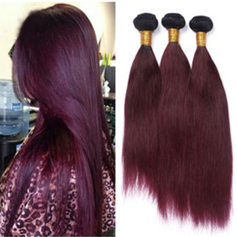 New Fashion Wine Red Ombre Brazilian Human Hair Bundles Dark Root Burgundy 1B 99J Hair Weaves Two Tone Hair Extensions 3Pcs Lot