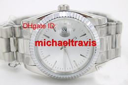 Wholesale Relojes de acero blancos de lujo de los hombres de la cara m m Reloj mecánico automático Reloj de la marca de fábrica de los hombres del dial de la marca de fábrica del reloj Relojes de pulsera