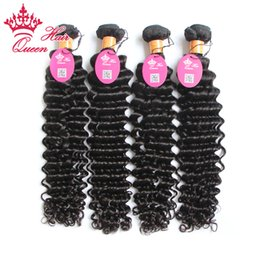 Queen Hair Indian Deep Wave&Curly 1B# Natural Color Virgin Human Remy Hair Weaves Hair Extensions 4PCS Lot Can be Dyed