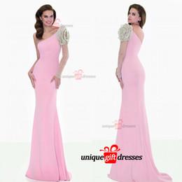 Tarik Ediz Mermaid Prom Dresses Pink One Shoulder Sweep Train Tulle Beads Long Sleeve Evening Gowns W6745
