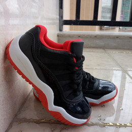 Wholesale Cheap Retro XI Low quot Bred quot Black Red Legend Blue Kid Basketball Shoes White Citrus Sports Trainers Children Shoes Boy Baby Sneakers
