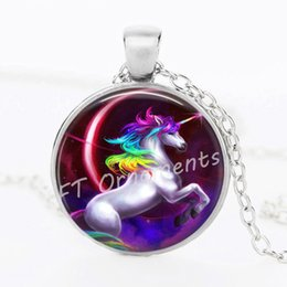 Wholesale Vintage Antique Jewelry Glass Cabochon Silver Long Chain Necklace Tradition Halloween Doll Animal Horse Picture Pendant Necklace Women gift