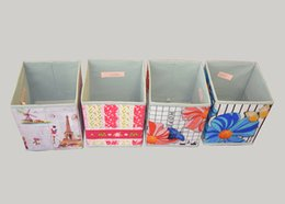 Organization Foldable PU Storage Box with Foral Printing Outside Set of 4 Organizer Containers Cube, Home Storage Bins Square