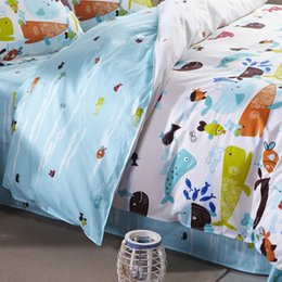 Wholesale kids four piece bedlinen Cotton bedclothes twin full queen size aquarium ocean Fishes printed bedding set