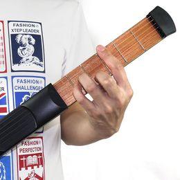Wholesale Portable Wooden Pocket Guitar Portable Pocket Acoustic Guitar Practice Tool Gadget Chord Trainer String Fret Model for Beginner