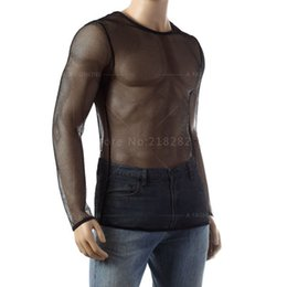 Wholesale-Summer Unisex Gauze Sheer Black & White Fishnet Tops Tees Undershirts See Through Long Sleeve Shirts Sexy Mesh Gay Sleepwear