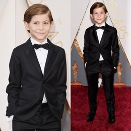 Wholesale Silver Color Tuxedo - Oscar Jacob Tremblay Children Occassion Wear Page Boy Tuxedo For Boys Toddler Formal Suits (Jacket+Pants+Bow Tie) Boy's wedding outfit