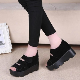 beautiful Summer Institute wind high-heeled shoes increased fish mouth sandals with thick bottom shoes the muffin