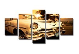 Wholesale Framed panel wall art picture for living room modern home decoration Hand painted Hi Q abstract sports car oil paintings on canvas