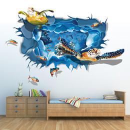 Wholesale The sea turtle Group D Art Wall Decals Removable PVC Wall stickers or your home or office Decor