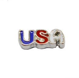 20pcs lot Free shipping DIY Enamel Charms Floating USA Charms for Glass Locket Wholesale