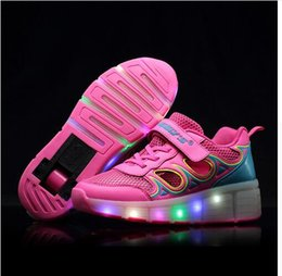 Wholesale 2016 new children s runaway lamp led light shoelace shoes hollow mesh automatic Heelys
