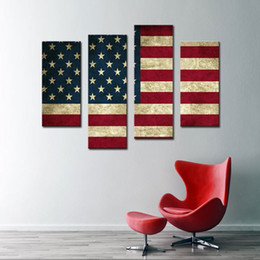 4 Picture Combination Wall Art Painting pictures of United State Flag Paintings The Picture For Living Room Decoration