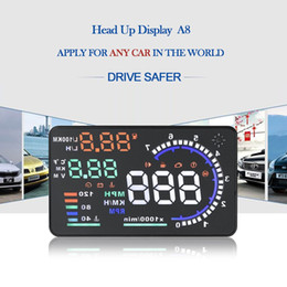 Wholesale New Universal quot Car A8 Hud Head Up Display with OBD2 Interface Plug Play KM h MPH Speeding Warning