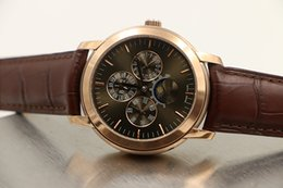 Wholesale 2016 Special New Auto Ap Jules Quantiem watch Coffee Dial Leather Band Transparent Back Watch