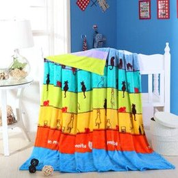 Wholesale Low price Modern Animal cats Woven Hotel Airplane Sky Blue full king size fleece flannel blanket