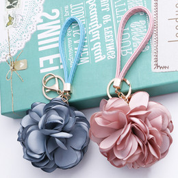 Wholesale Korean Car Bag - 2016 Fashion KeyChains Korean fabric camellia flowers Zinc Alloy Key Ring   Bags and Car Ornaments For Women Jewelry Accessories Wholesale