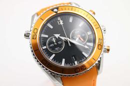 Special Sale OM Quartz Watch Men Orange Case Black Dial Leather Band Stop Watch Montre Homme